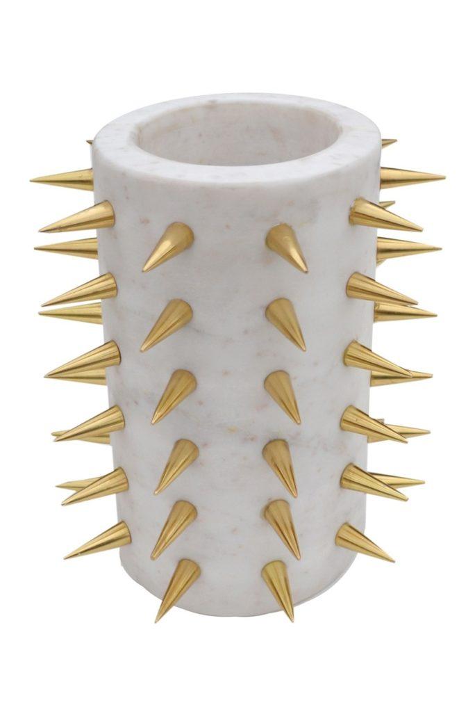 R16 HOME White/Gold Pantalet Spike Vase