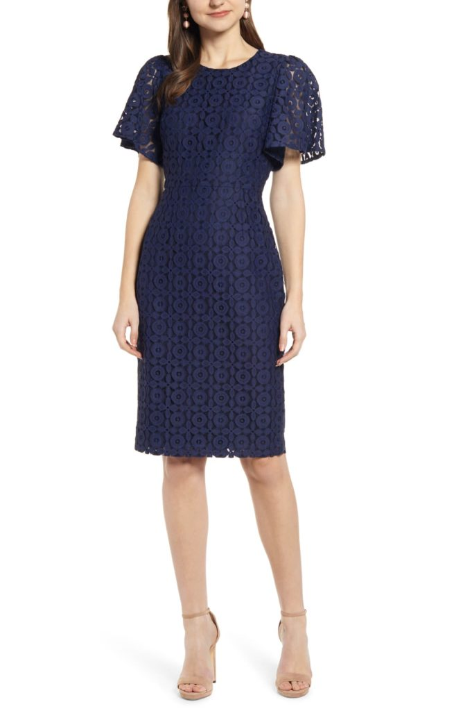 Flutter Sleeve Lace Sheath Dress - RACHEL PARCELL