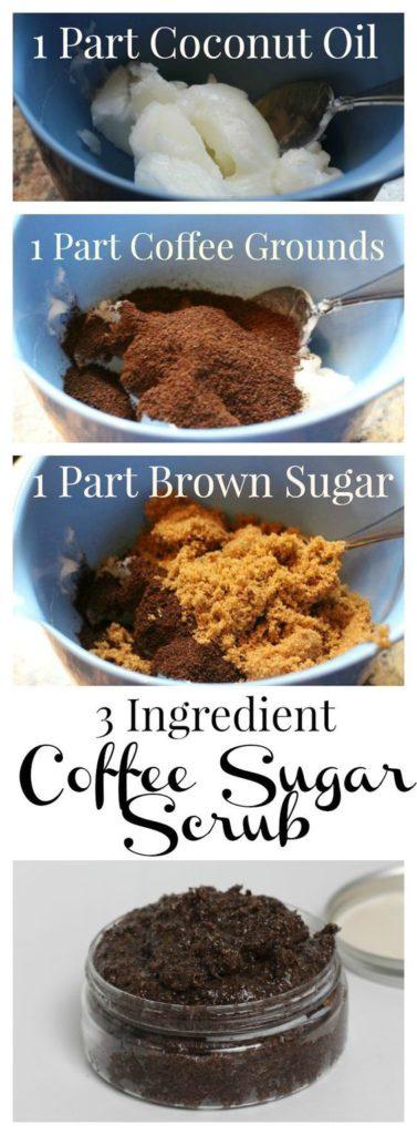 3 ingredient coffee scrub - sugar, ground coffee, coconut oil